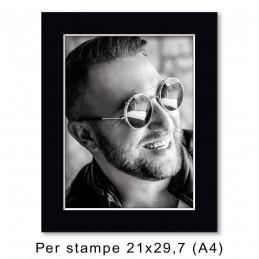 Passep. 30x40 per stampe A4/21x29,7, Nero (sp. 1,3 mm)
