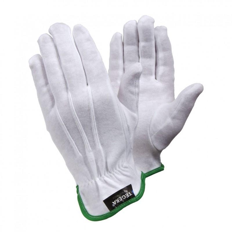 """Guanti in cotone misura """"9"""" banda verde"""