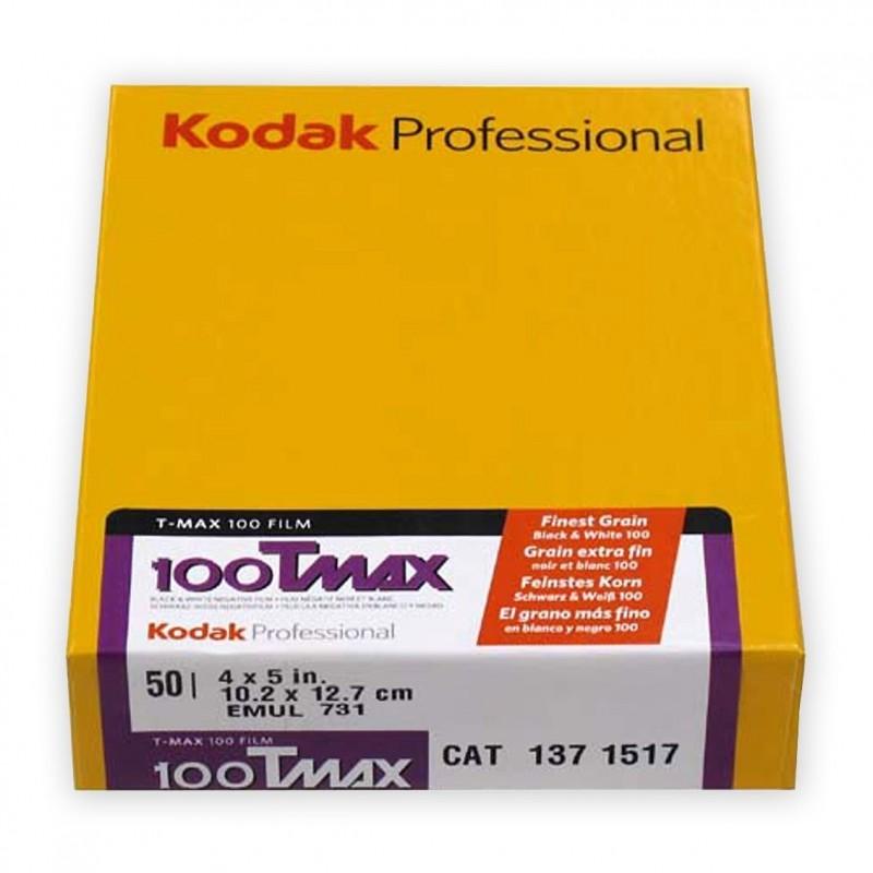 """KODAK TMAX 100 Pell. piana 4x5"""" da 50 fogli"""